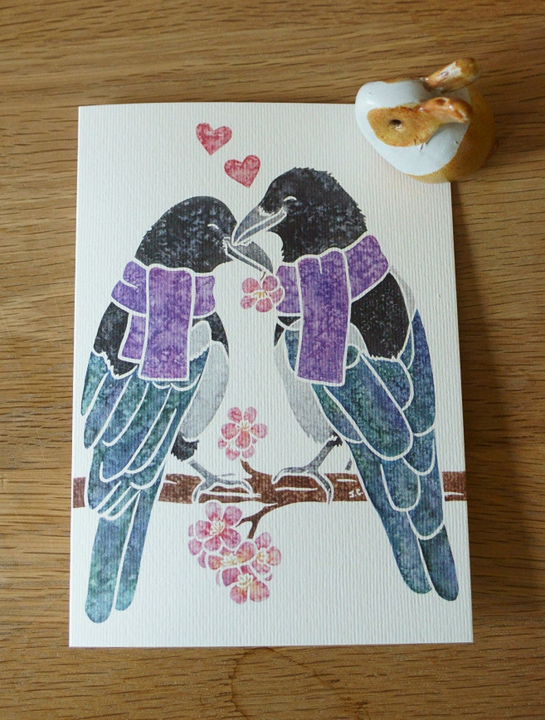 Two for joy MAGPIE bird corvid notecards gifts greetings image 0