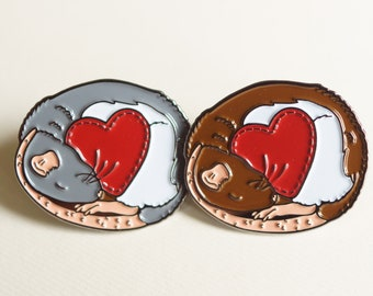 Cute pet fancy RAT heart soft enamel pin, perfect gift for ratty lovers, blue/grey hooded and agouti hooded