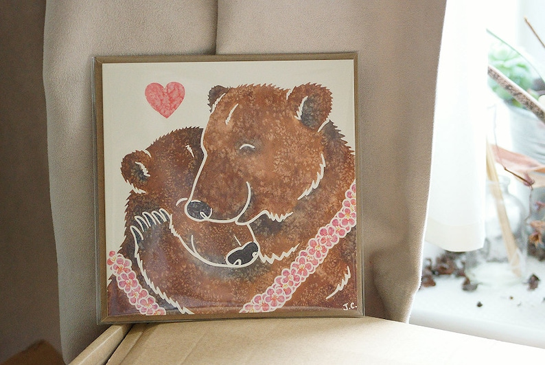 BROWN/GRIZZLY BEAR hug printed watercolour design greetings image 0
