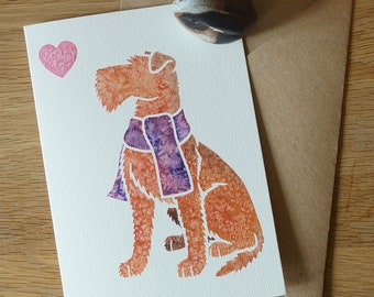 IRISH TERRIER brocaire rua dog cute note cards gifts greeting York animal artist, watercolour, thank you, birthday, condolences 5 pack