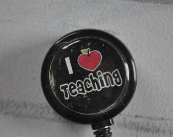 Teacher Badge Reel Retractable   ID Badge Reel   I Heart Teaching   Retractable Badge Reel   Badge Reel   Gifts for Teachers   School Badge