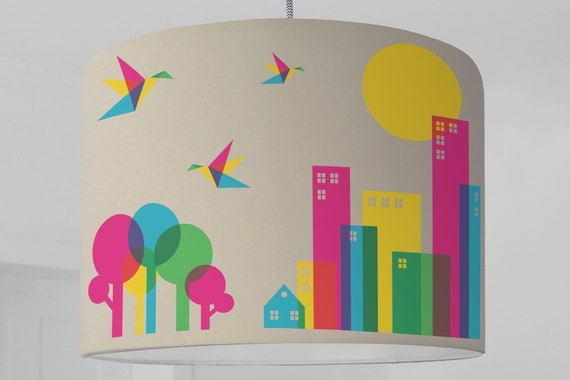 Lampenschirm Vogel Kinderzimmer Lampenschirm Grafisches Muster Etsy