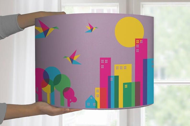 Lampshade graphic pattern city bird tree bedroom nursery floor lamp baby kitchen lamp colorful