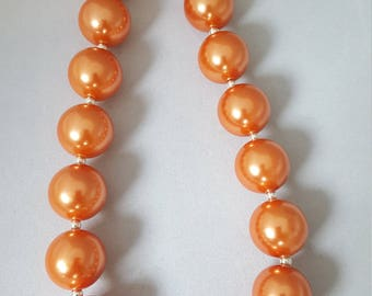 Orange bubblegum necklace, chunky necklace, toddler jewelry