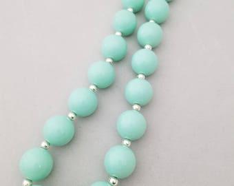Mint bubblegum bead necklace, toddler necklace