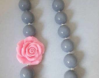 Gray and pink rose bubblegum bead necklace, chunky necklace, toddler jewelry