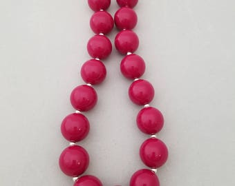Bubblegum bead necklace, toddler necklace,  magenta pink