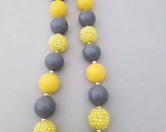 Bubblegum bead necklace, toddler necklace, yellow and gray