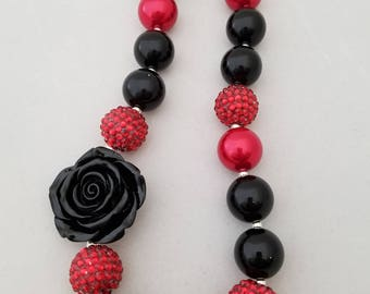 Bubblegum bead necklace, toddler necklace,  red & black with rose