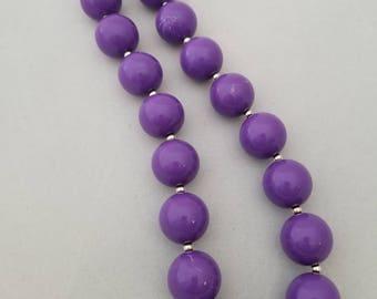 Bubblegum bead necklace, toddler necklace,  purple