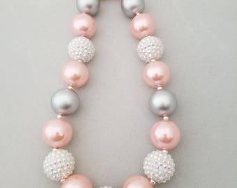Bubblegum bead necklace, toddler necklace, pink