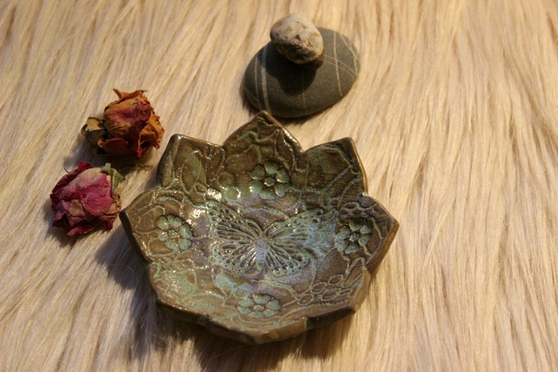 Pottery handmade Handmade ceramics Ring dish Small gift Jewelry holder Tea light candle holder with Butterfly Small jewelry dish