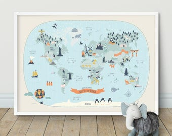 kids world map etsy rh etsy com Vintage World Map Wall Mural Best Wall Maps