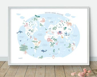 Nursery world map etsy nursery animal world map printable kids world map poster nursery world map nursery gumiabroncs Image collections