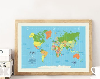 World Map Poster Classic illustrated world map
