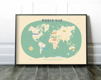 World Map Vintage Style Poster illustrated world map