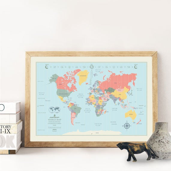 Decorative World Map Poster.World Map Poster Cool Illustrated World Map Decorative Nursery Etsy