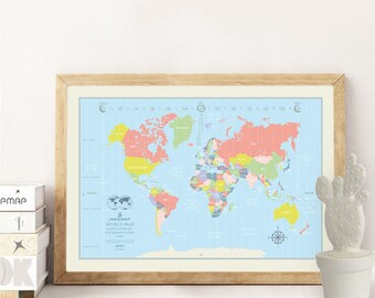 World Map Poster Happy illustrated world map, Travel Gifts World Map, Best gifts, perfect gift for Anniversary, Birthday, Wedding, children