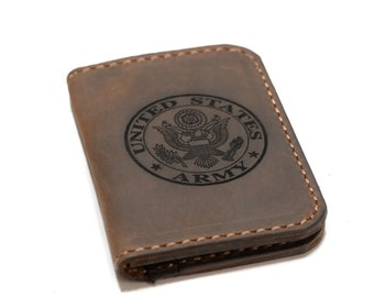 Custom Fallen Soldiers Bi-fold Wallet Hair on Hide Brown