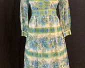 Vintage Avalon Mid Century 60s 70s Blue Floral Shear Maxi Dress (DS068)