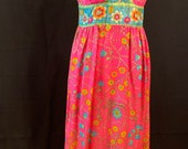 Vintage 1970s Pink Floral ladies Long Maxi Dress (DS069)