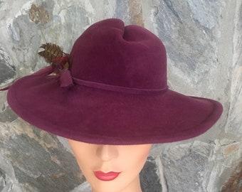 Vintage Plum Betmar Wool Feather 1960s Hat 96d27fbc8ce