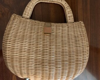 f7551369dd2a Vintage Magid Beige 1960 s Rattan Top Handle Bag (PB036)