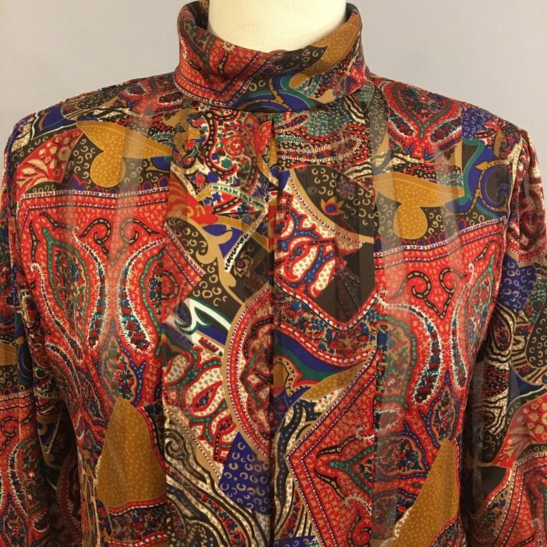 Vintage 1980s Nicola Brown Multi Color Floral Secretary Blouse Size 8 BL009