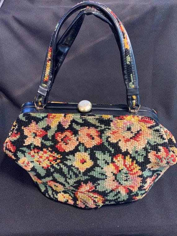 Vintage 50's Floral Black Tapestry Needlepoint Pur