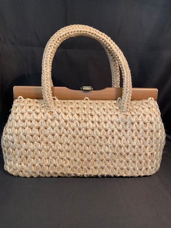 Vintage 1960s Dayne Taylor Raffia Straw Bag (PB110