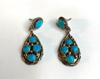 Vintage Turquoise Cluster Petite 925 Sterling Silver Point Dangle Earrings (SE045)