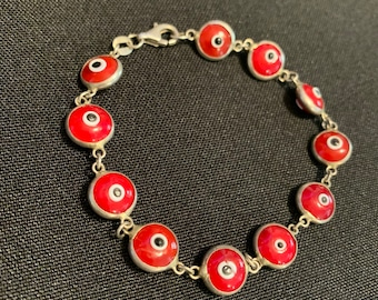 "Vintage 7"" Sterling Silver Red Glass Evil Eye Beaded Bracelet (SB085)"
