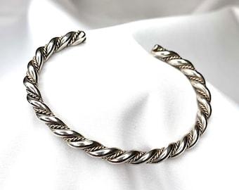 "Vintage 925 Sterling Silver Twisted Cuff 6.5""Bracelet (SB104)"