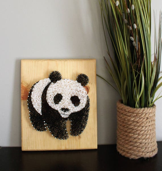 Panda Bear Art Nursery String Art Sign Baby Animal Kid Room Etsy