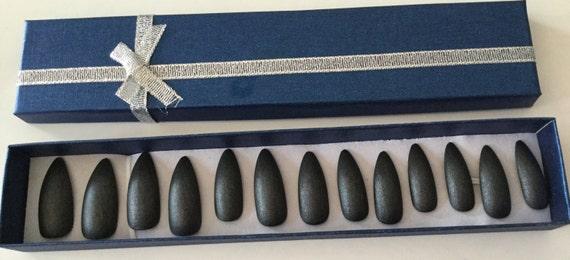 Lot de 20-main peint noir éclat mat faux ongles - presse brillant sur les ongles - faux ongles - lot de 20 n'importe quel style - brillant