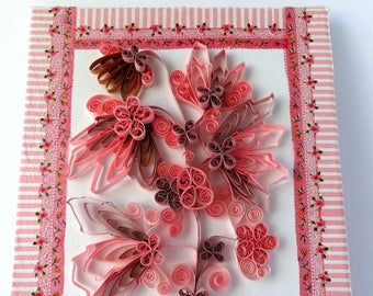 Quilled flower composition on canvas - wall decor - home decor - spring decor - Quilled 3D art - decoupage canvas - quilling on canvas