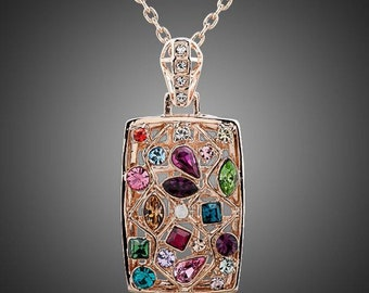 Rectangular Rainbow Crystals Necklace