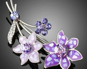 Artistic White Gold Violet Flower Brooch Pin
