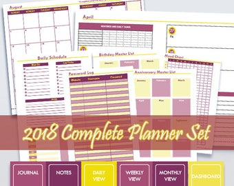2018 Knightingale Complete Printable Planner Set in Violet and Yellow