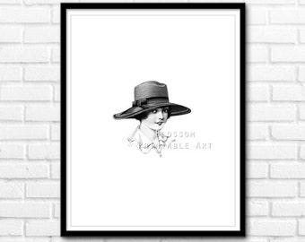 Vintage Lady Print, Printable Wall Art, Black and White Vintage Printable Art, Wall Decor INSTANT DOWNLOAD - 1091