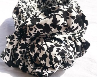 headband/hairband/wrap with white cotton and black flowers, Maxmara fabric