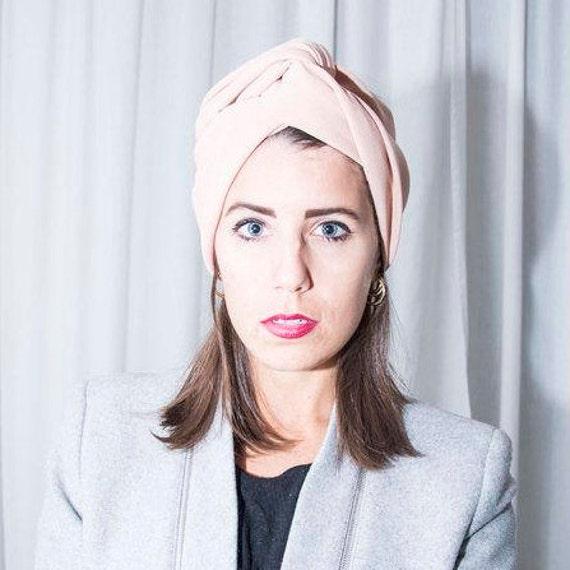 Bandeau/serre-tête/enveloppe/turban tissu rose à la main à la main Maxmara-laine