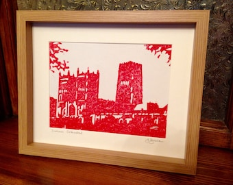 Framed Original Linocut Print Durham Cathedral UNESCO World Heritage Site