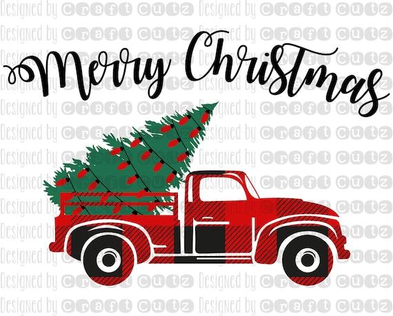 Buffalo Plaid Christmas Tree Farm Truck With Lights Svg Etsy