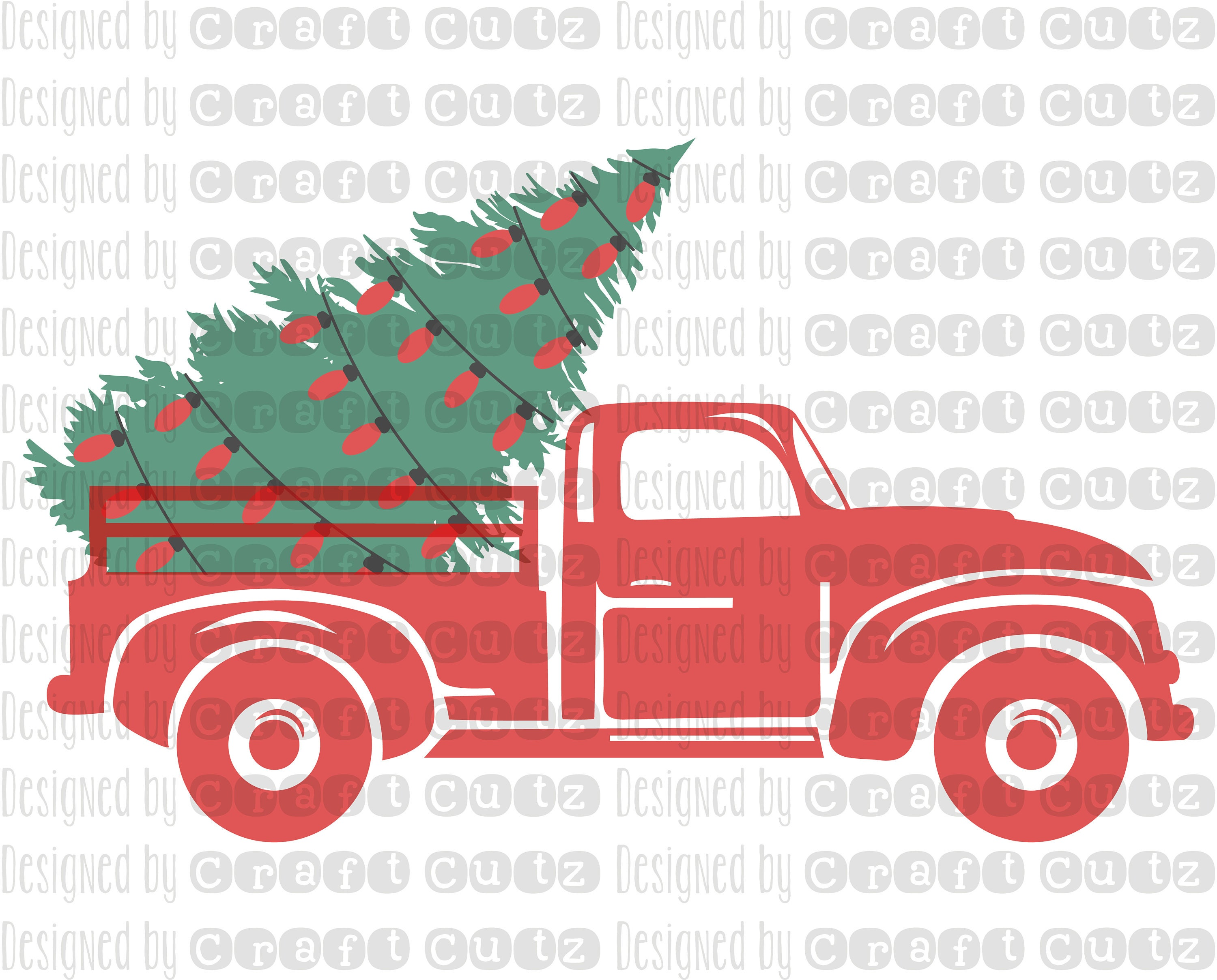 Christmas Tree Farm Truck with lights Digital Download   Etsy