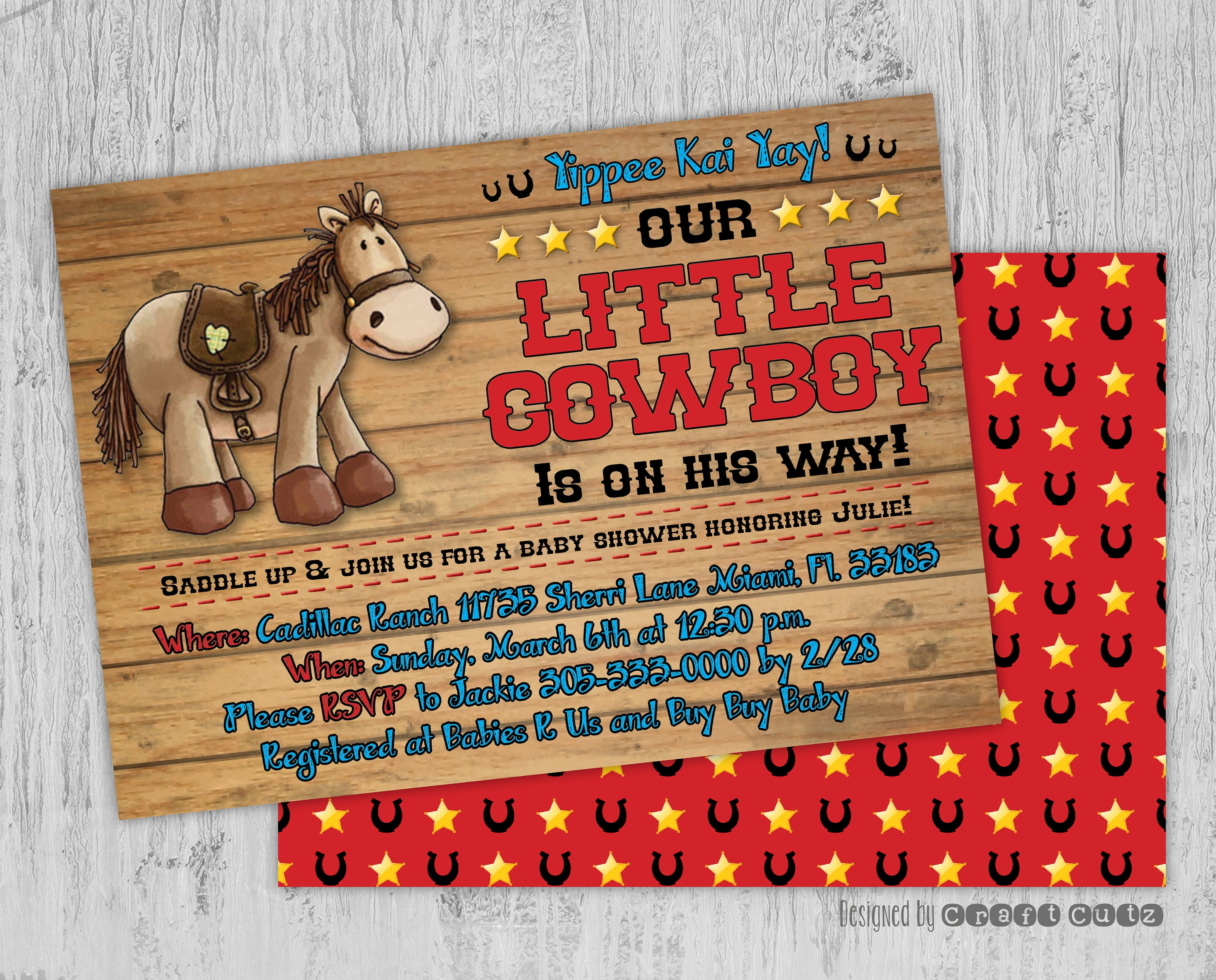 Little Cowboy Baby Shower Invitation Western Party   Etsy