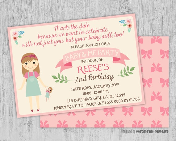 Baby And Me Birthday Invitation Doll Party