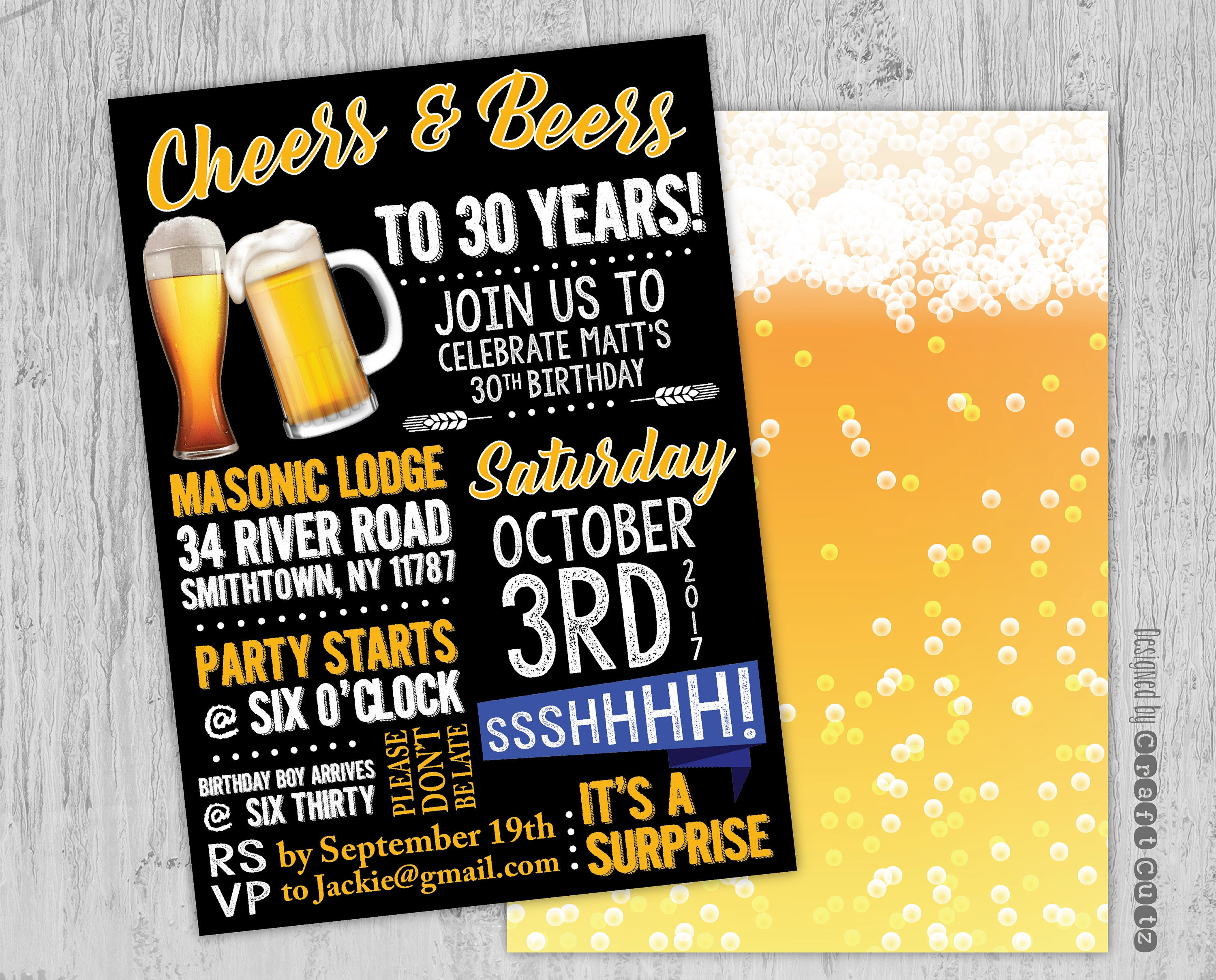 Cheers And Beers To 30 Years Invitation Beer Party Etsy