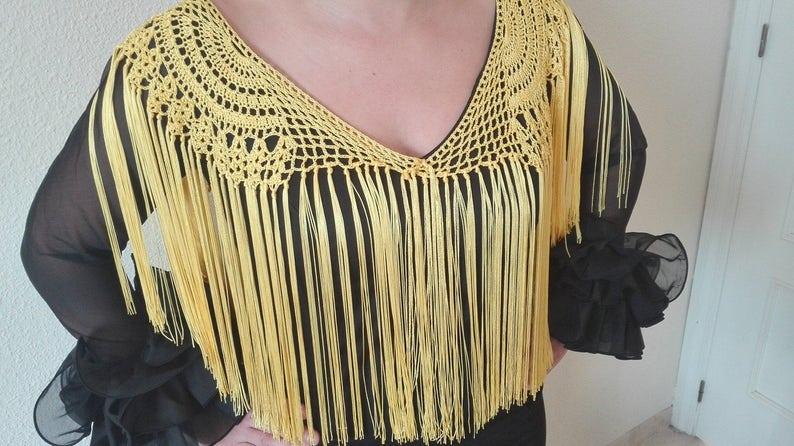 695cdf9af11b Flecos flamenca blonda crochet flamenca complemento traje o