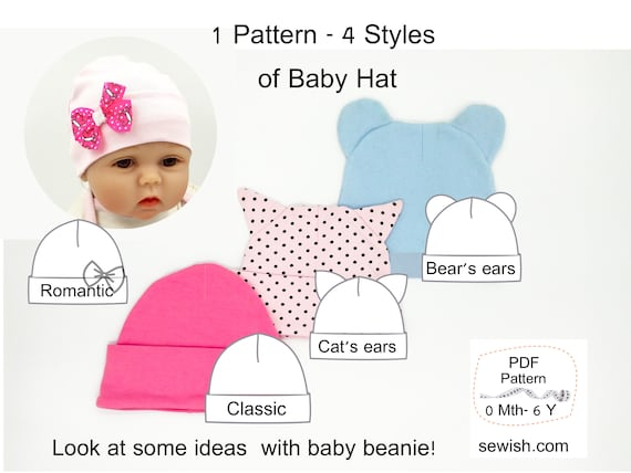 Baby Hat Beanie Sewing PDF Patterns How To Sew Baby Hat  12c7ffde754